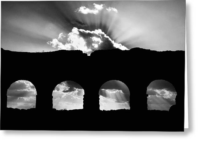 Silhouettes Greeting Cards - Aqua Claudia aqueduct Greeting Card by Fabrizio Troiani