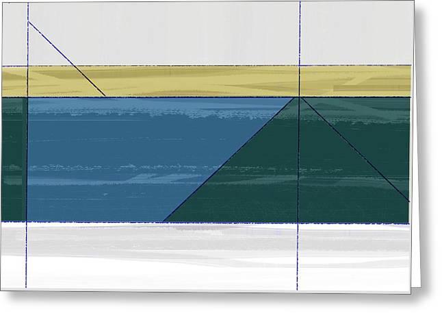 Aqua Green Triangles Greeting Card by Naxart Studio