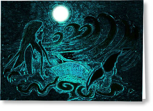Fin Pyrography Greeting Cards - Aqua Mermaid in the Moonlight Greeting Card by Tisha McGee