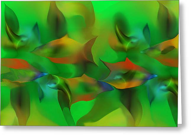 Decorative Fish Greeting Cards - Aqua Residents Greeting Card by David Lane