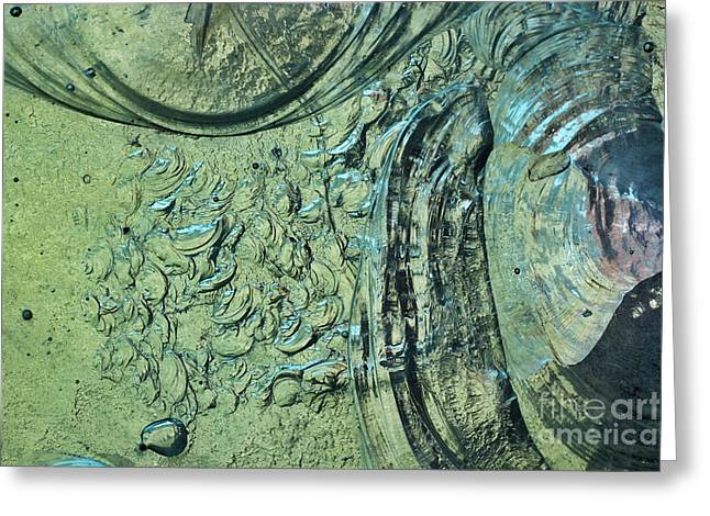 Turquoise Stained Glass Greeting Cards - Aqua Stained Glass Greeting Card by Susan Isakson