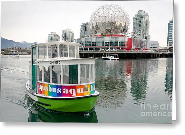 Telus Greeting Cards - AQUABUS TELUS world of science false creek vancouver bc canada Greeting Card by Andy Smy
