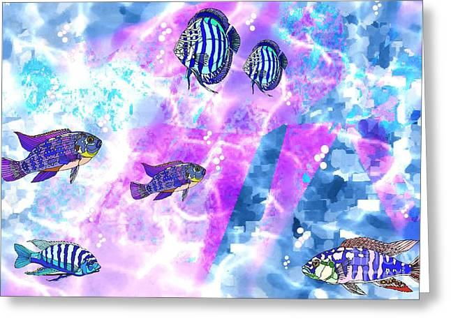 Aquarium Fish Mixed Media Greeting Cards - Aquarium 2 Greeting Card by Mimo Krouzian