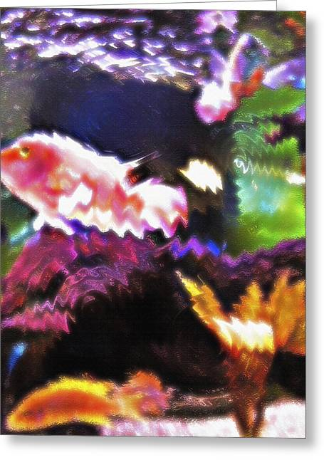 Artistic Fish Abstraction Greeting Cards - Aquarium Art 3 Greeting Card by Steve Ohlsen