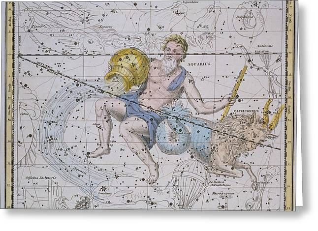 Plotting Paintings Greeting Cards - Aquarius and Capricorn Greeting Card by A Jamieson