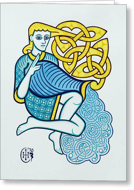 Knotwork Greeting Cards - Aquarius Greeting Card by Ian Herriott