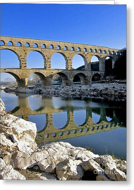 South Of France Photographs Greeting Cards - Aqueduc du Pont du Gard.Provence Greeting Card by Bernard Jaubert