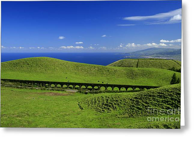 Azoren Greeting Cards - Aqueduct and pastures Greeting Card by Gaspar Avila