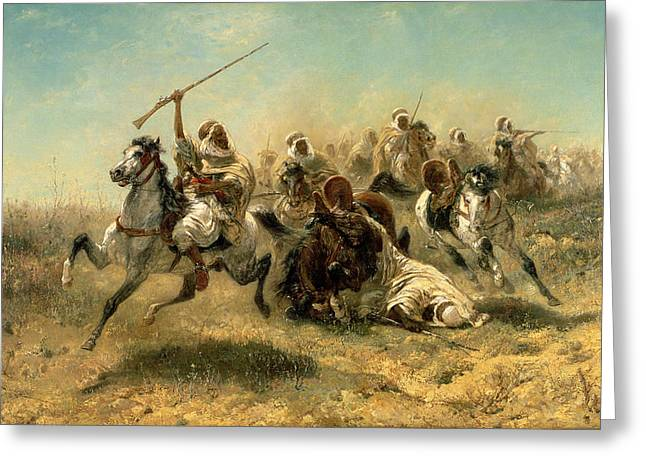 Horseman Greeting Cards - Arab Horsemen on the attack Greeting Card by Adolf Schreyer