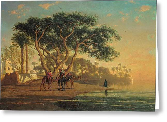 Middle-east Greeting Cards - Arab Oasis Greeting Card by Narcisse Berchere