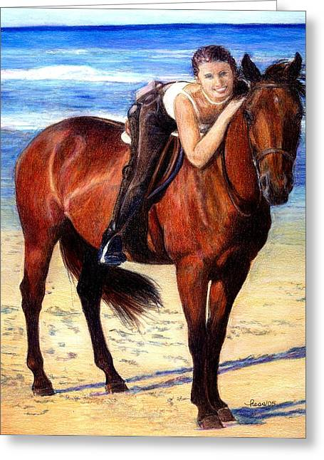Beach Photos Drawings Greeting Cards - Arabian Horse Riding On The Beach Portrait Greeting Card by Olde Time  Mercantile