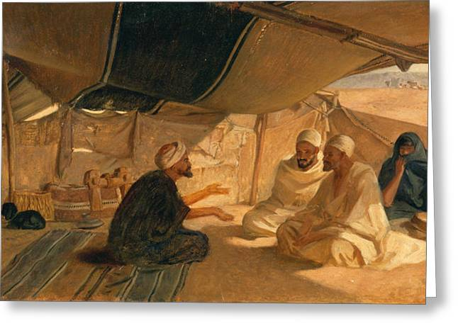 1871 (oil On Canvas) Greeting Cards - Arabs in the Desert Greeting Card by Frederick Goodall