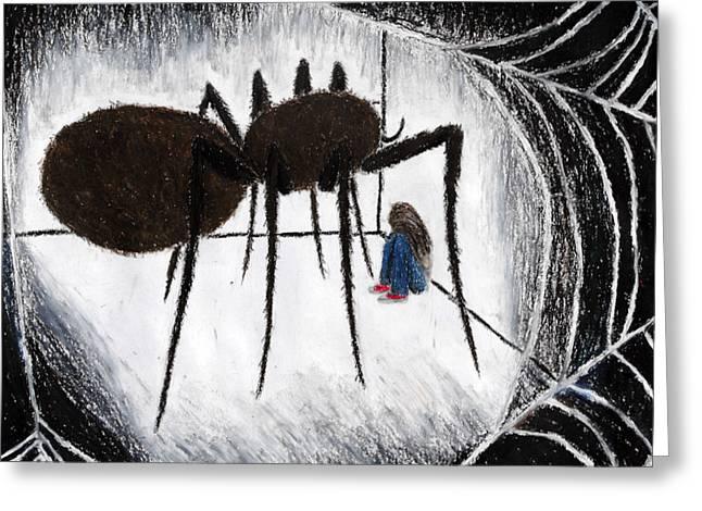 Web Pastels Greeting Cards - Arachnophobia Greeting Card by Kayla Nicole