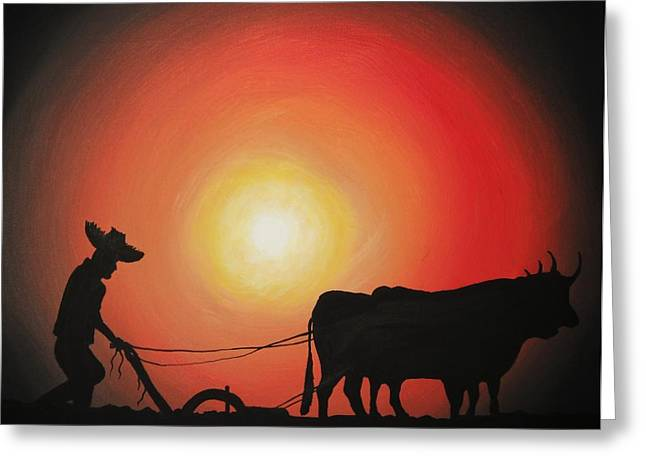 Cultivation Paintings Greeting Cards - Arado de Bueyes Greeting Card by Edwin Alverio