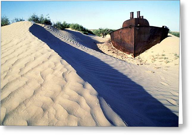 Desertification Greeting Cards - Aral Sea Boat Stranded By Drought Greeting Card by Ria Novosti