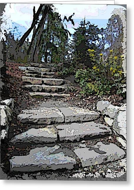 Stone Steps Greeting Cards - Arboretum Stairway Greeting Card by Tim Allen