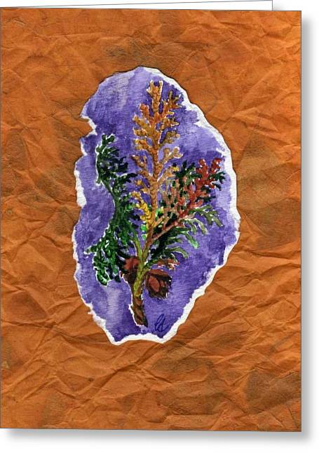 Pine Needles Mixed Media Greeting Cards - Arborvitae Greeting Card by Carrie Auwaerter