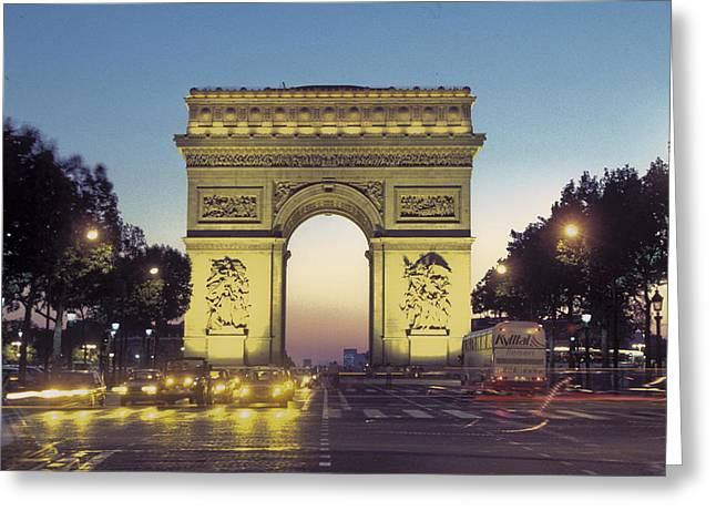 Urban And Suburban Ways Of Life Greeting Cards - Arc De Triomphe And The  Champs-elysees Greeting Card by Richard Nowitz