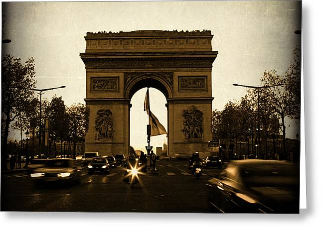 Champs Greeting Cards - Arc de Triomphe in Paris France with Speeding Cars at Night Greeting Card by ELITE IMAGE photography By Chad McDermott