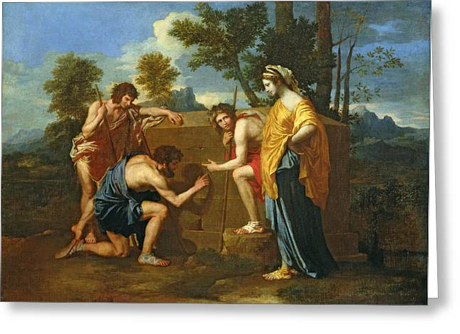 Egos Greeting Cards - Arcadian Shepherds Greeting Card by Nicolas Poussin