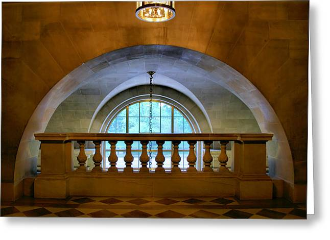 Architecture Metal Prints Greeting Cards - Arch and Stone Railing Greeting Card by Steven Ainsworth