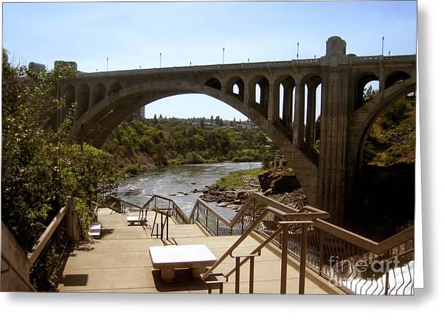 Spokane Greeting Cards - Arch Monroe Street Bridge Spokane River Greeting Card by Ann Powell