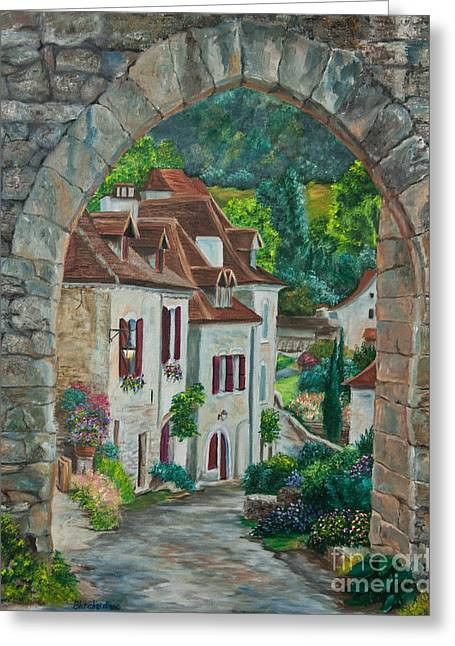 Village In France Greeting Cards - Arch Of Saint-Cirq-Lapopie Greeting Card by Charlotte Blanchard