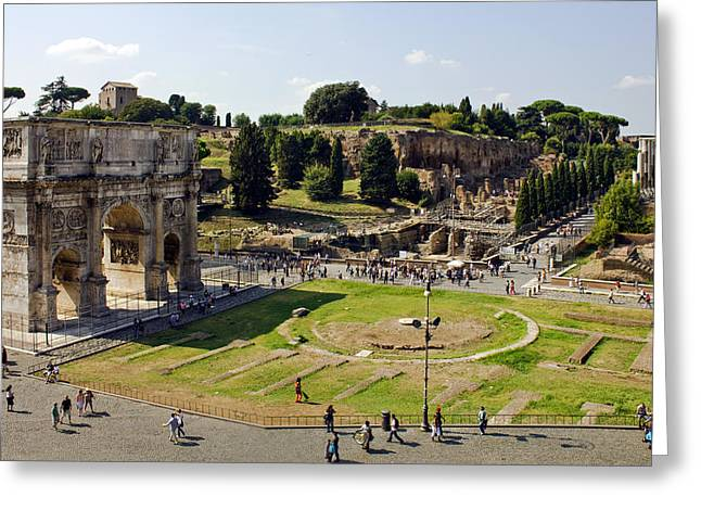 Domitian Greeting Cards - Arch Of Titus and the Roman Forum Greeting Card by Darren Burroughs