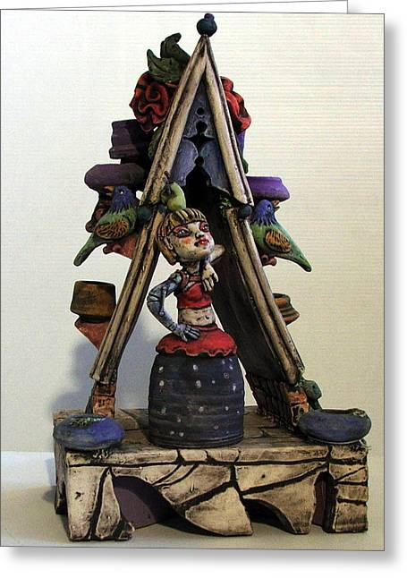 Pottery Ceramics Greeting Cards - Arch Sculpture Greeting Card by Kathleen Raven