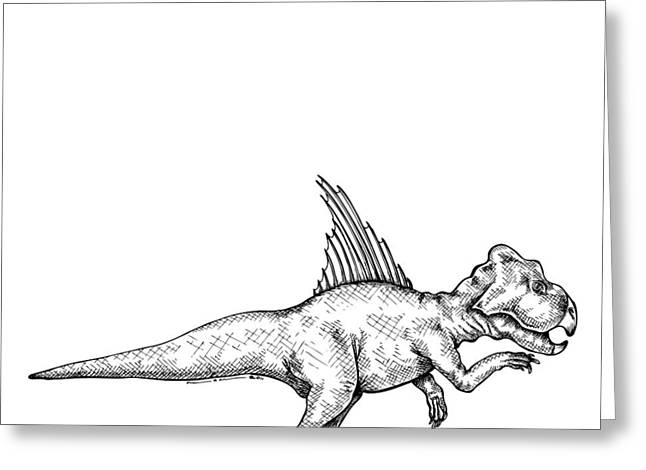 Ink Outlines Greeting Cards - Archaeoceratops - Dinosaur Greeting Card by Karl Addison