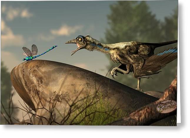 Primitive Digital Art Greeting Cards - Archaeopteryx-Dinosaur or Bird Greeting Card by Daniel Eskridge