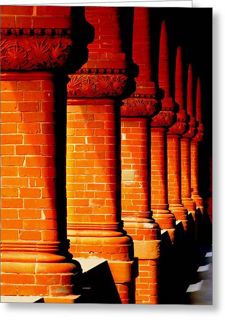 Historical Buildings Greeting Cards - Archaic Columns Greeting Card by Karen Wiles