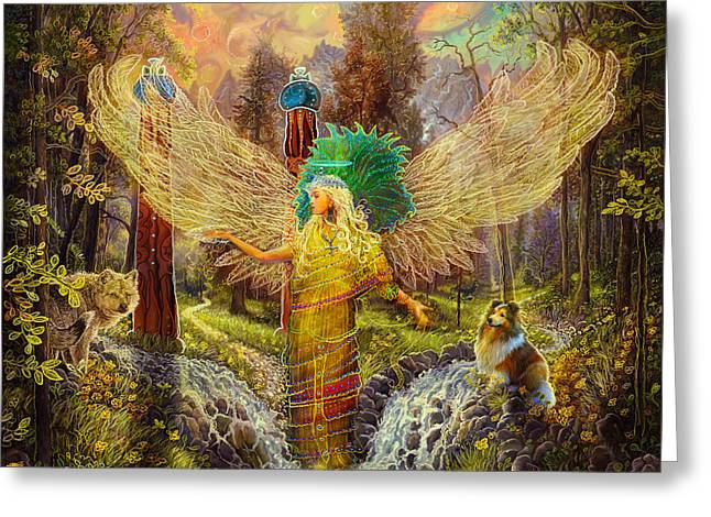 Archangel Haniel Greeting Card by Steve Roberts