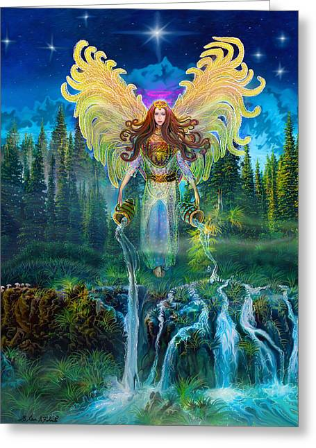 Archangel Greeting Cards - Angel Tarot Card Archangel Jophiel  Greeting Card by Steve Roberts