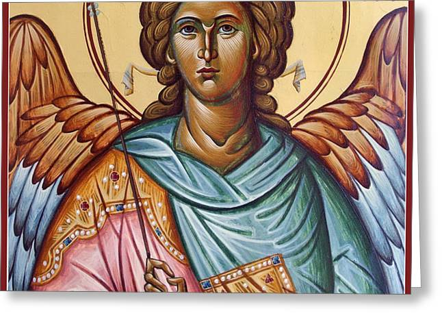Archangel Michael Greeting Card by Julia Bridget Hayes