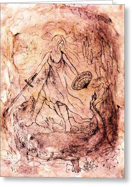 Archangel Greeting Cards - Archangel study Greeting Card by Rachel Christine Nowicki