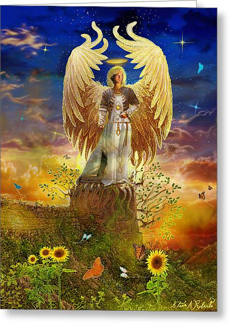 Angels Art Greeting Cards - Archangel Uriel Greeting Card by Steve Roberts