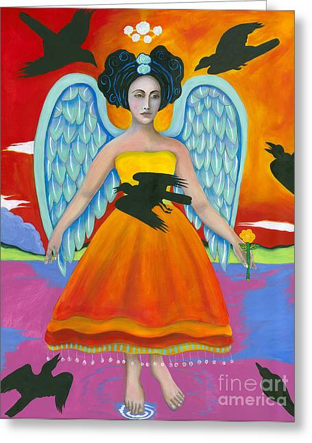 Archangel Zadklie Comes To Calm The Brewing Storm Greeting Card by Christina Miller