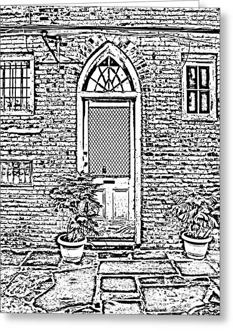 Photocopy Greeting Cards - Arched Doorway French Quarter New Orleans Photocopy Digital Art Greeting Card by Shawn O