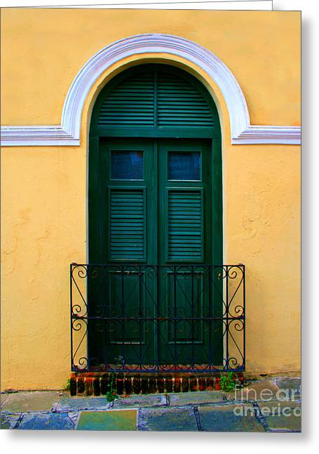 Old San Juan Greeting Cards - Arched Doorway Greeting Card by Perry Webster