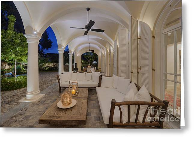 Sliding Glass Door Greeting Cards - Arched Patio Greeting Card by Noam Armonn