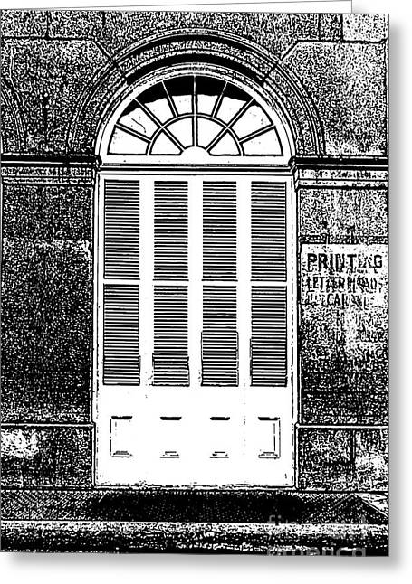 Photocopy Greeting Cards - Arched White Shuttered Window French Quarter New Orleans Photocopy Digital Art  Greeting Card by Shawn O