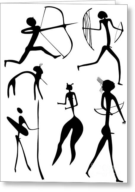 Primitive Drawings Greeting Cards - Archer And Other Figures Greeting Card by Michal Boubin