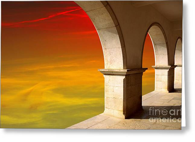 Altitude Greeting Cards - Arches at Sunset Greeting Card by Carlos Caetano