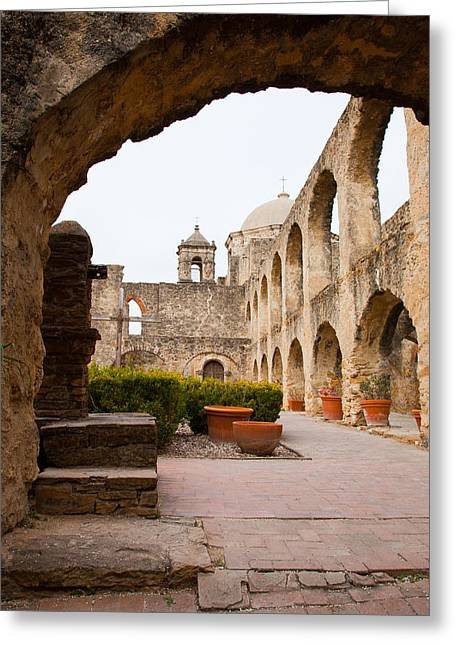 Colonial Architecture Greeting Cards - Arches of Mission San Jose Greeting Card by Iris Greenwell