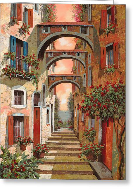 Street Scenes Paintings Greeting Cards - Archetti In Rosso Greeting Card by Guido Borelli