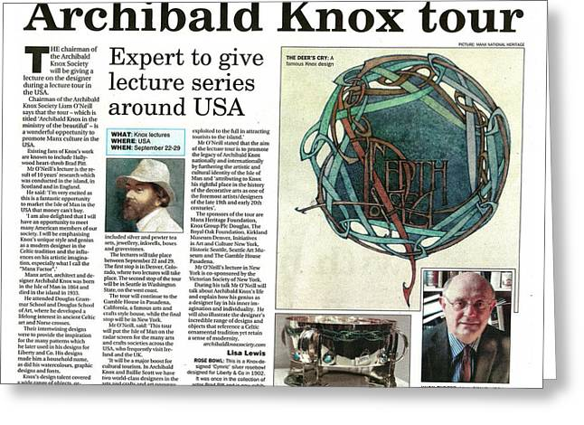 Archibald Knox - News Article Greeting Card by ArtworkX of Mann