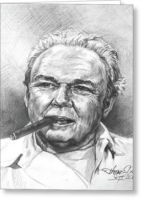 Archie Bunker Drawings Greeting Cards - Archie Bunker Carroll OConnor Greeting Card by Thomas Hoyle