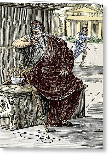 Surname A Greeting Cards - Archimedes During The Sack Of Syracuse Greeting Card by Sheila Terry