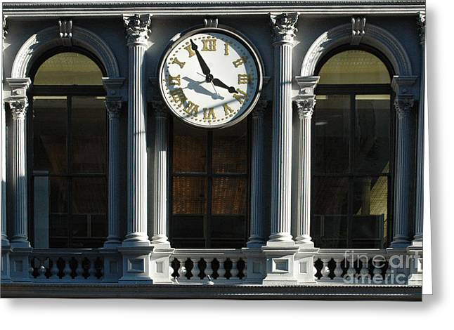 Chipping Paint Greeting Cards - Architectural arches and Clock Greeting Card by Anahi DeCanio